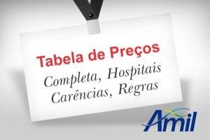 Tabela completa, preços, rede, hospitais amil convenio medico